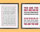 Personalized Quote Print, Set of two prints (song lyrics, poem, quote, message, vows ) in red and black, custom colors