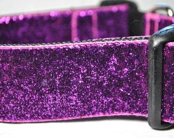 "Magenta Glitter 1.5"" Width Adjustable Collar"