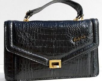 SALE Vintage Shoulder Bag, Black Italian Leather Bag, Black Vintage Bag, Italian Vintage