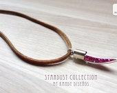Stardust Bottle Necklace. Pink glitter Bottle Necklace. Galaxy necklace. Space necklace. Galaxy jewelry. Fang tusk bottle Astronomy inspired