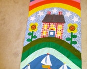 HUGE Wall Banner Rainbow Sunshine Sailboat Lake Scene bright vintage machine applique 7 FEET by 3 Feet