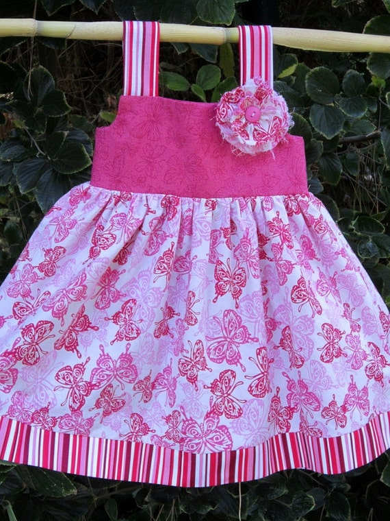 Bright Pink Butterfly Knot dress---Size 18/24 month---matching sister dress