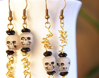 Summer Party Gift Glow in the Dark dia de los muertos Zombie Feeders Skull Earrings Big Head Squiggle Worms Day of the Dead Antique Bronze