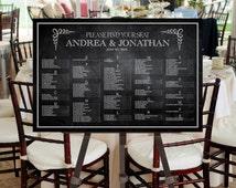 Wedding Seating Chart Printable Digital File -- Vintage Inspired, Mixed Fonts, Chalk board Image Background, Black, White