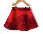 Girls Marimekko Skirt 6 - Christmas Red with Pine Branches - ThumbandPinky