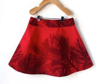 Girls Marimekko Skirt 6 - Christmas Red with Pine Branches