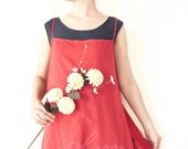 Cotton Spring Apron Knot Dress in Red-Black