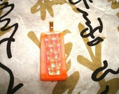 Tangerine, salmon colored, dichroic, fused glass, pendant, stocking stuffer, gift, for her