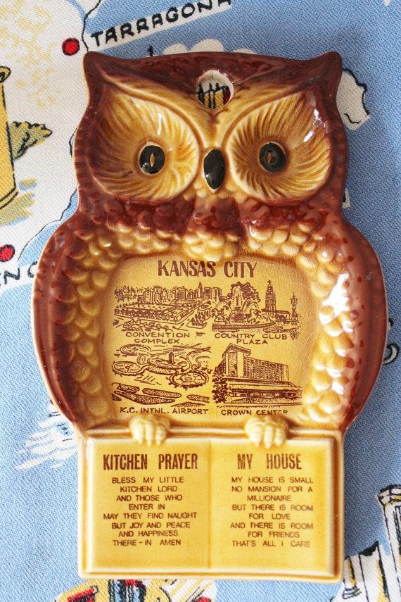 Owl Spoon Rest Ceramic Kansas City Collectible Kitchen Prayer