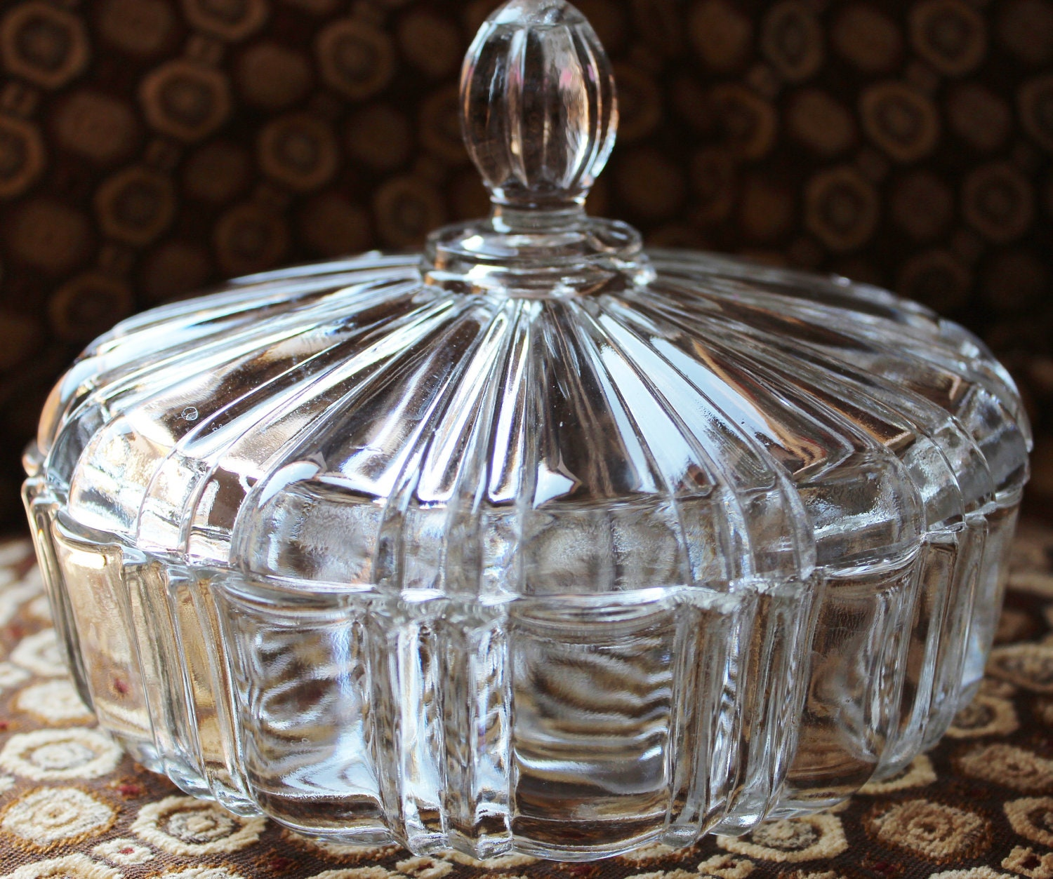 Vintage Glass Covered Candy Dish Anchor Hocking Fire King