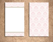 Mini Card - Pink and Gold Damask (Set of 10)