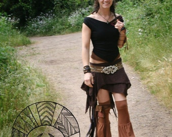 Temple Leg Flares ~ Elven Forest, Festival Clothing, Fluffies, Leg Flares, Gypsy clothing, Leg Warmers, tribal, bellydance, Hooping clothing