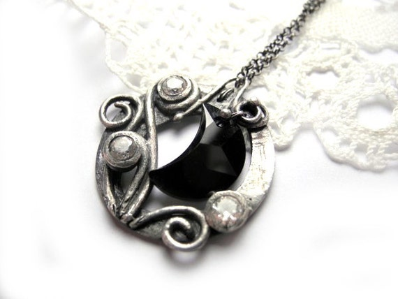 Full Moon Necklace - Hand Made Silver - Cubic Zirconia and Swarovski Crystal - Moon shaped - Round Black and White - Lunar Lunula Pagan