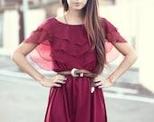 Burgundy Chiffon Tiered Ruffle Top Maxi Dress - Georgia