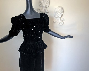 80s does 40s Peplum Dress Puff Sleeve Vintage 1980s Black Velvet with Rhinestones Rockabilly Goth Party Dress 1940s Style Size Small Medium