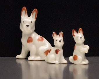 French Bull Dog Miniature Vintage Figurines.