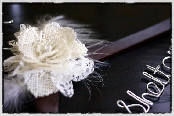 Wedding Hanger w/ Lace and Burlap Flower - Walnut Finish