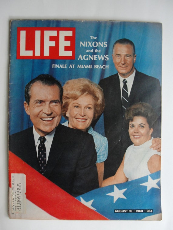 Vintage 1968 Life Magazine Nixons and Agnew Finale       August 16 at Miami Beach