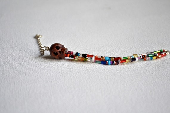tribal beaded skull bracelet // trader
