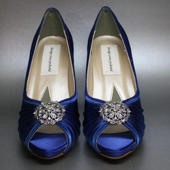 Items Similar To Wedding Shoes Sapphire Blue Platform Peeptoes With Silver Vintage Adornment
