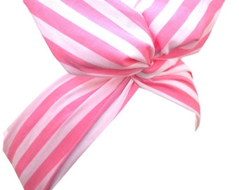 Candy pink & white stripe  wire headband Pin up hair wrap