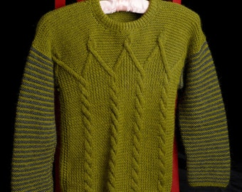 Baby alpaca child kid sweater green gray hand knitted, size XSmall Small (5 6 7 8 years)