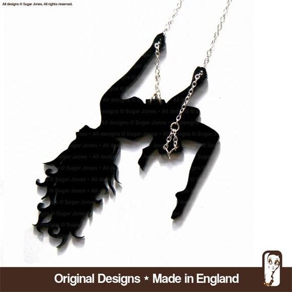 Swinging Girl Necklace - Showgirl Sassy Swinging Lassy - Sugar Jones UK