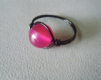 Hot Pink Agate Wire Wrapped Ring with Black Wire - Made to Order