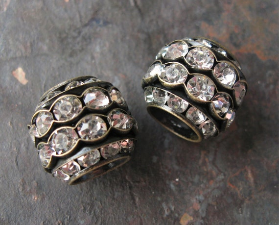 Large Stacked Rhinestone Rondelle Beads Brass OX Clear Glass 15mm x 17mm (2)