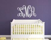 Monogram Sticker -  Name Wall Decal - Baby Girl Nursery - Vine Monogram - Personalized Name Vinyl Decal