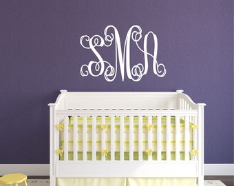 Mandala Monogram Wall Decal Nursery Wall Decal Mandala - Monogram wall decal for kids