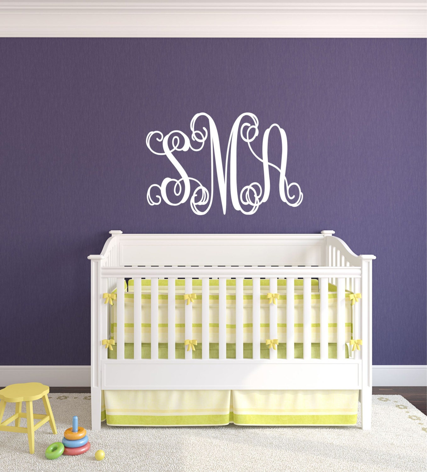 monogram decal bedroom decor name wall decal teen by lucylews. Black Bedroom Furniture Sets. Home Design Ideas