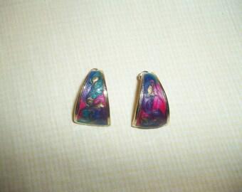Colorful Glittery Pastel Enamel Pierced Earrings