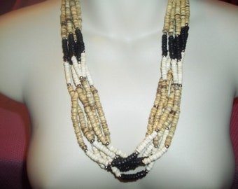 Awesome 6 Strand Wooden Beaded Vintage Necklace