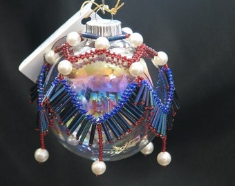 "American Dream hand beaded patriotic Christmas ornament drape 2.5"" bulb"