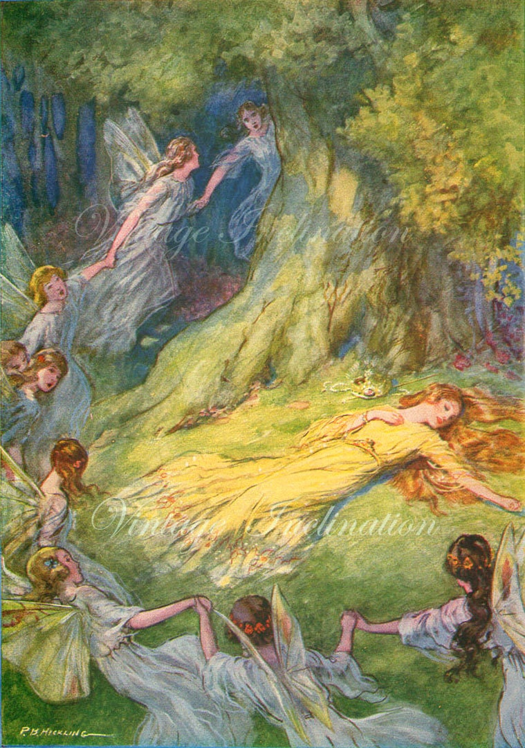 Fairies Dancing 1920s Antique Vintage Art Print Beautiful