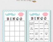 Printable Baby Shower Game - Bingo - Gender Reveal Party - Mustache and Lips