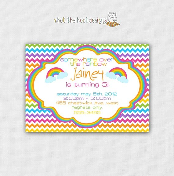 Printable Rainbow Chevron Invitation - Birthday Party - Rainbow Colors