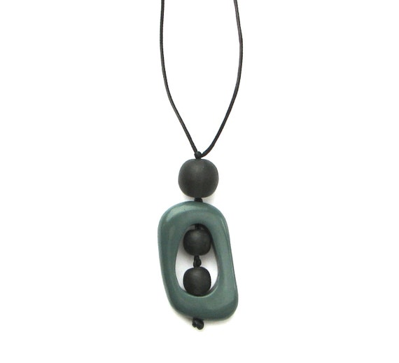 Nursing Mom Necklace - Non Toxic Resin Babywearing /Breastfeeding Necklace - Teal and Charcoal Grey/ Titanium Gray