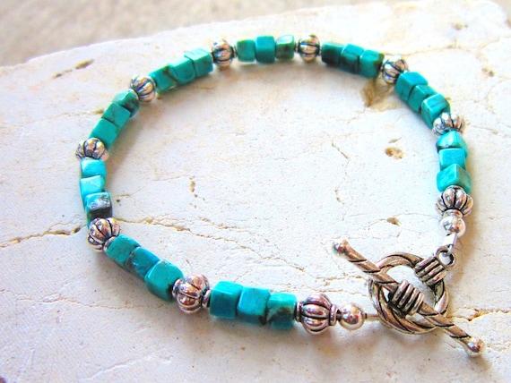 Genuine Turquoise Bracelet. Square Semi Precious Stone Toggle Bracelet. Turquoise Jewelry. Unisex Bracelet. Men's Turquoise Bracelet