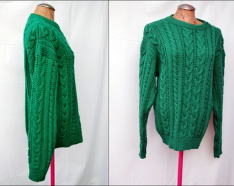 Vintage Kelly green Cable Knit Sweater Jumper Medium Unisex