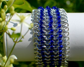 ON SALE - Cobalt Beaded Chainmaille Cuff - Ready to Ship