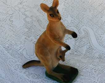 Rare Flocked Kangaroo and Baby Figure Vintage
