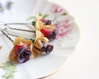 Burgundy and Dark Purple Rosebuds Hair Pins, flower,  floral hair clip, Rustic Wedding. Woodland. Hair Accessories. Fall, Autumn Wedding.