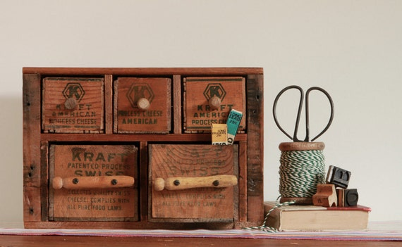 Multi Drawer Jewelry Box Desk Organizer from Repurposed Vintage Cheese Boxes