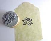 Lotus Rubber Stamp for gift tags, package stamping, jewelry making, clay stamping and more  Y001