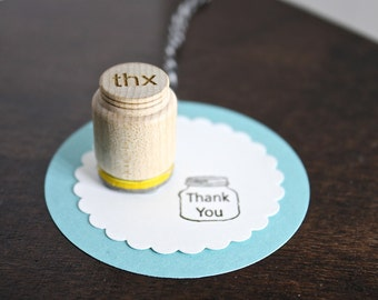 Thank You Mason Jar Stamp Small Stamp for gift tags, back of handmade cards, business owners O018