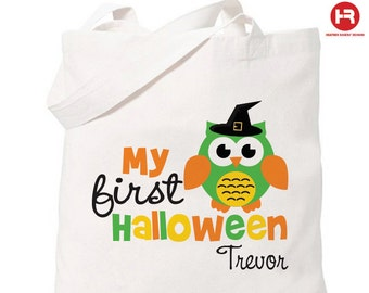 Halloween Trick or Treat Bag - Personalized Owl Bag - 1st Halloween Trick or Treat Bag