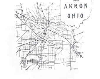11'' x 14'' Akron Ohio 1916 Map - Original Screen Print