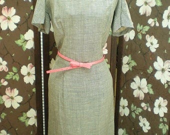 SALE Vintage Lilli Diamond 1950's Gingham Checker Print Dress Rockabilly Viva Las Vegas Black and White